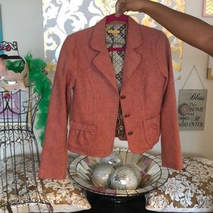 Red and beige Salt and Pepper blazer.